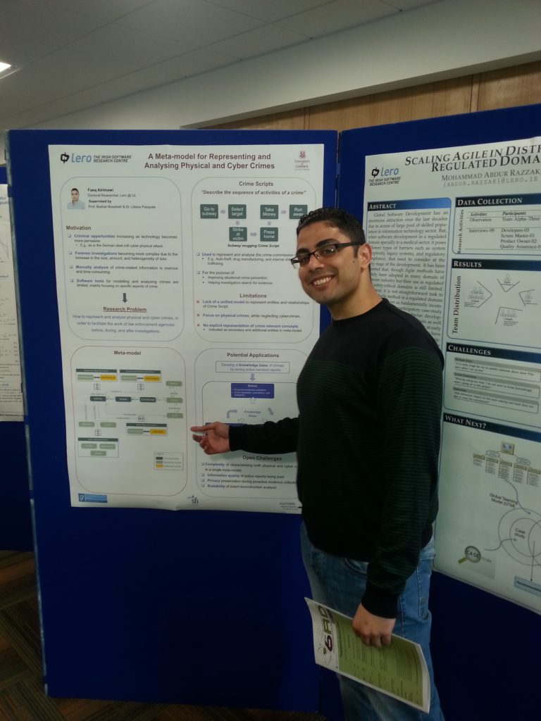 Faeq presents his poster at Research Day in NUI Galway